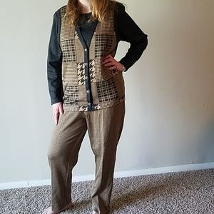 Vintage Houndstooth Top and Pant Set